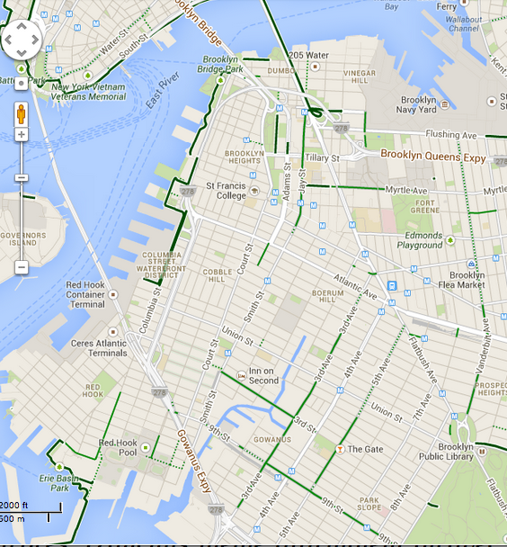 Brooklyn bike paths in Google Maps