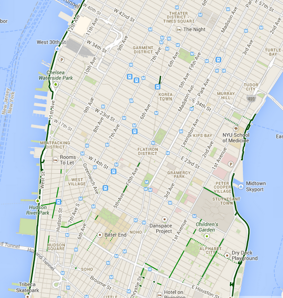 Manhattan bike paths in Google Maps