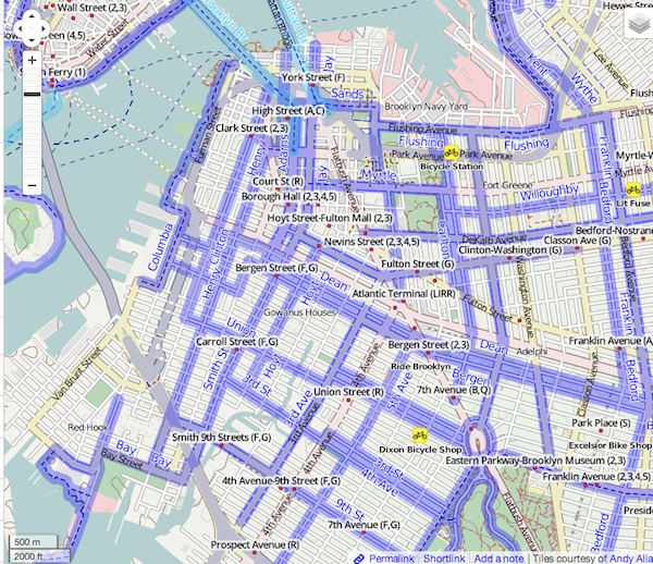 Brooklyn Bike paths in OSM