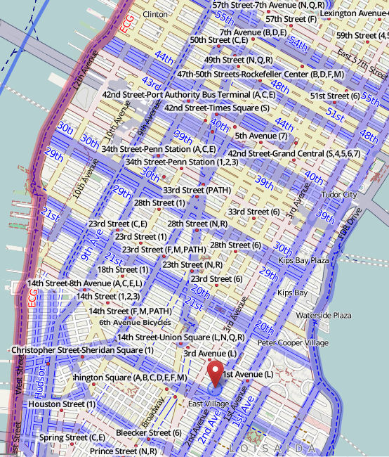 Manhattan bike paths in OSM